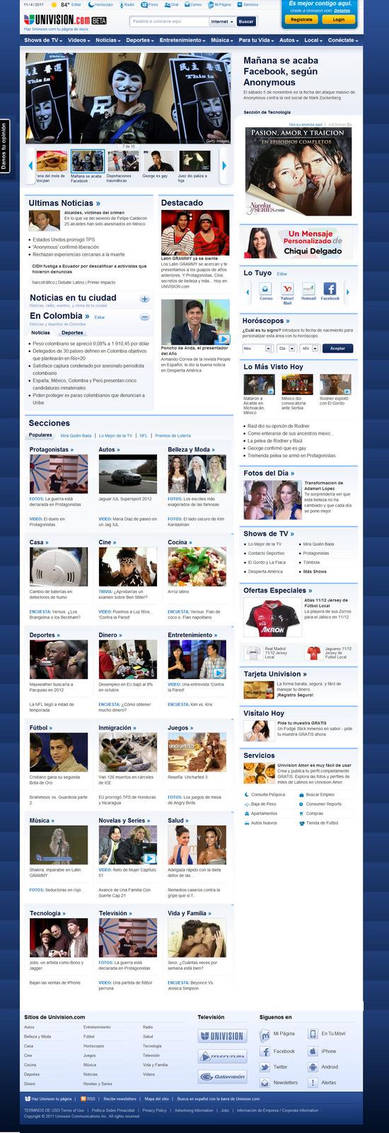 Vista de www.univision.com | Pagina web o Home