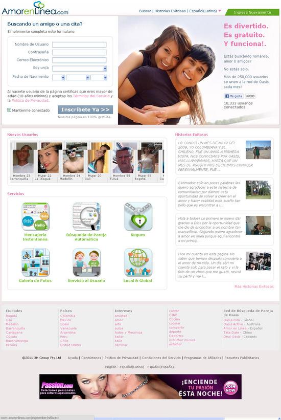 Vista de www.amorenlinea.com | Pagina Web o Home