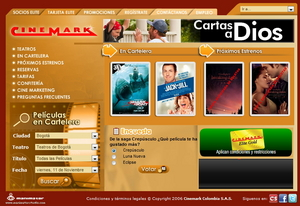 Vista de www.cinemark.com.co | Pagina Web o Home