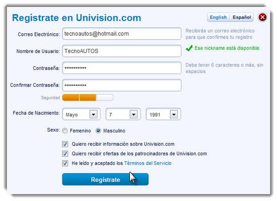 Univision registrarse 2