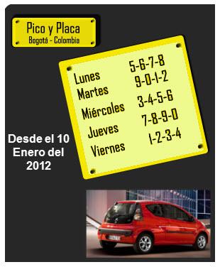 Pico y placa Bogota 2012