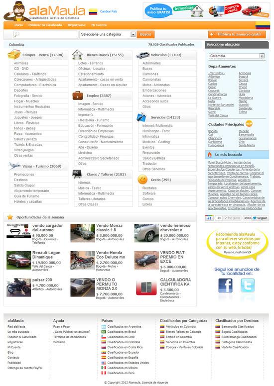 Vista de www.alamaula.com.co | Pagina Web o Home
