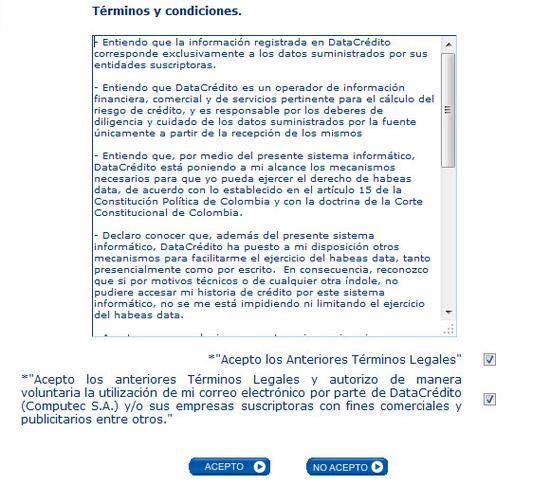 acepte terminos y condiciones y genere codigo en datacredito y cita