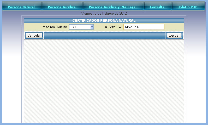 Certificado de Antecedentes Fiscales 2012, Persona Natural