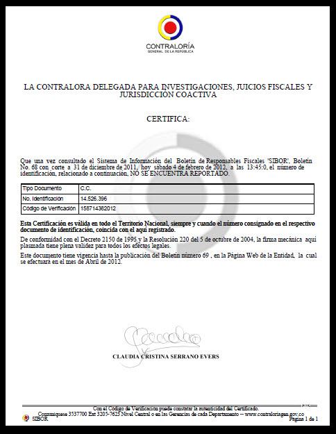 Certificado de Antecedentes Fiscales 2012, no reportado