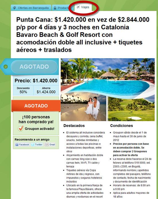 ofertas para viajes en Colombia que ofrece Groupon