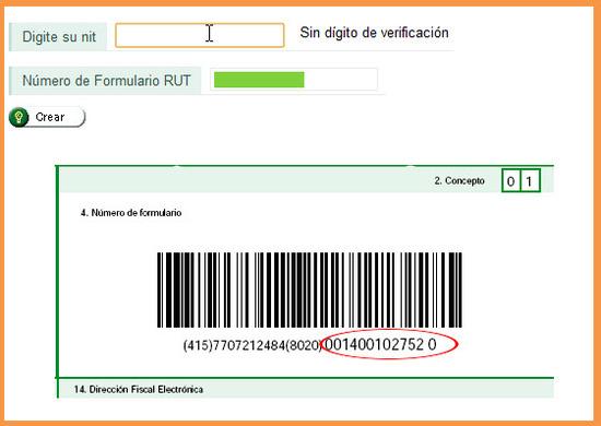 Este es el número que se pide del formulario RUT