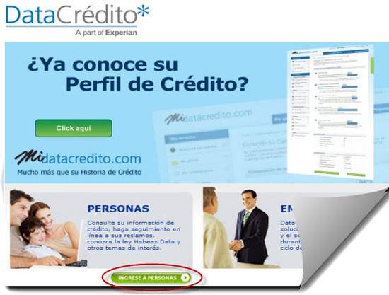 Ingrese a personas para su consulta datacredito gratis