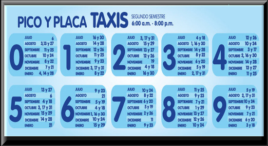 Pico y Placa Medellin 2012 Segundo Semestre para Taxis