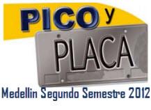 Rotación Pico y Placa Medellin 2012, segundo semestre