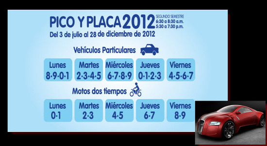 Pico y Placa Medellin 2012 segundo semestre