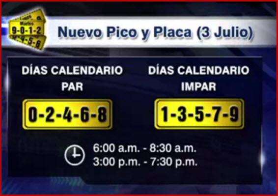 Horarios del pico y placa bogotá segunda rotacion 2012