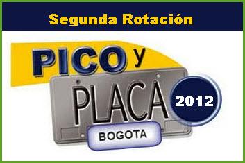 Rotación del Pico y placa en Bogotá segundo semestre 2012.
