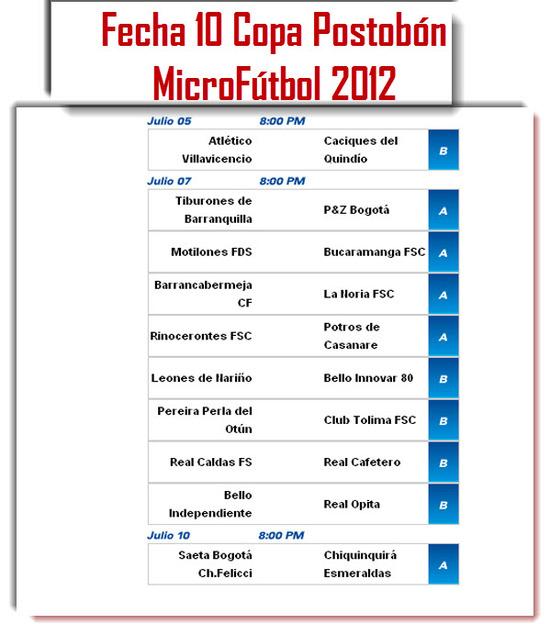 Calendario Fecha 10 Copa Postobón Microfútbol 2012
