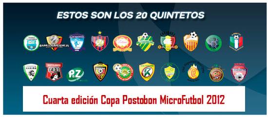 Equipos Copa Postobón MicroFútbol 2012