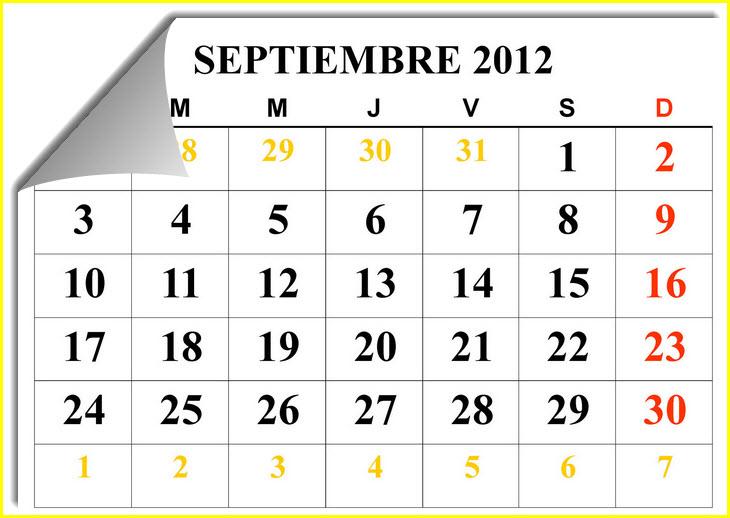 Calendario de eventos de septiembre 2012