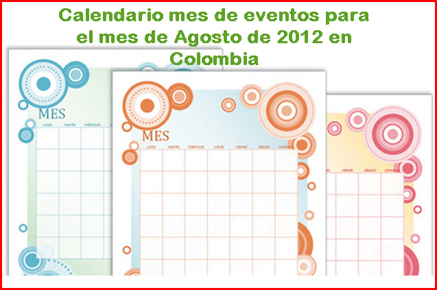 Calendario de eventos para Agosto 2012 en Colombia