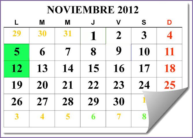 calendario eventos y festivos mes de noviembre 2012 colombia