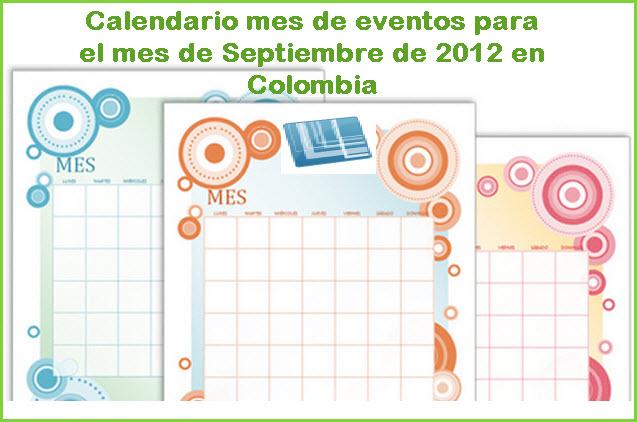 Calendario de eventos para Septiembre 2012 en Colombia
