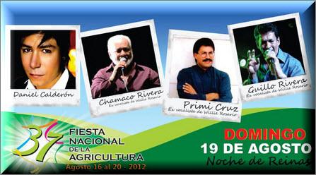 Noche de música y reinas, Fiesta Nacional de la Agricultura 2012