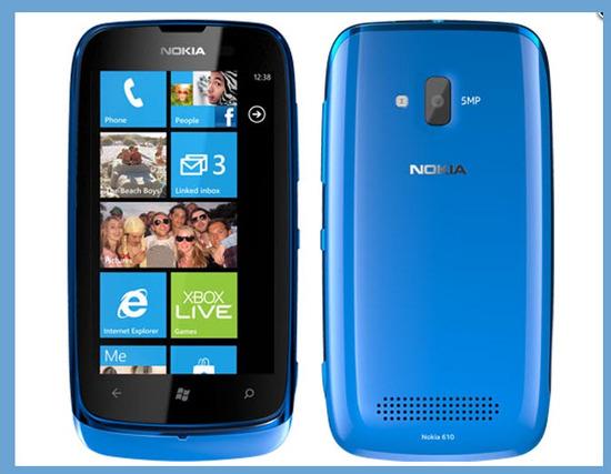 Nokia Lumia 610, vista exterior