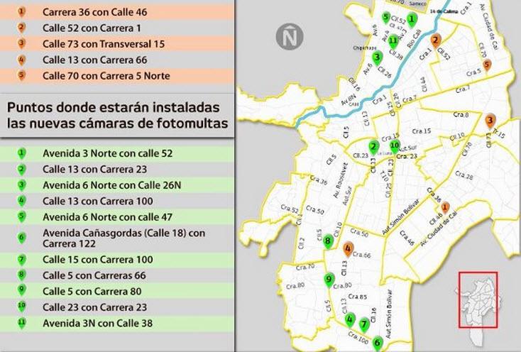 mapa que muestra puntos y ubicación de cámaras fotomultas