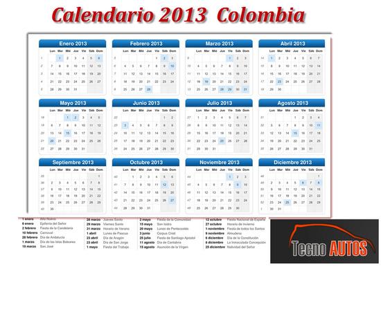 Calendario 2013 Colombia, eventos y festivos