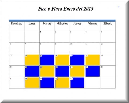 Pico y Placa Bogotá enero del 2013
