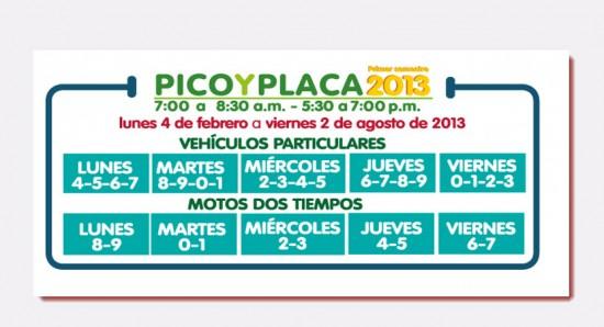 Pico y Placa Medellin 2013 vehiculos particulares primer semestre