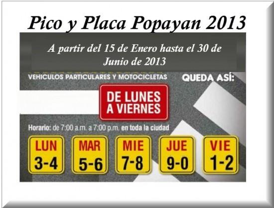Pico y Placa Popayán 2013