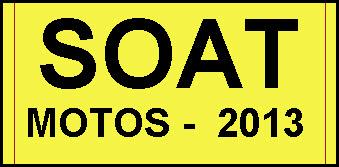 Tarifas SOAT 2013 – Motos