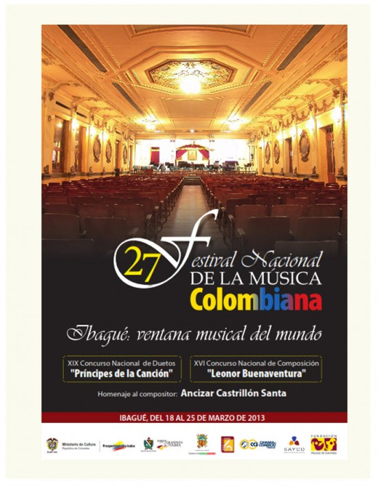 Cartel Oficial Festival Nacional de Música Colombiana 2013