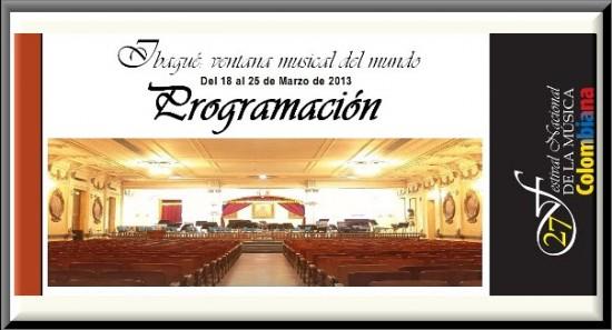 Programación Festival Nacional de Música Colombiana 2013