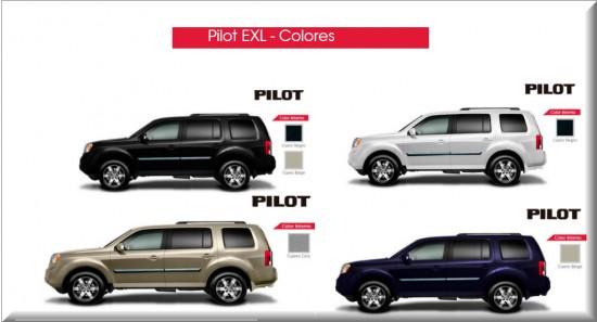 Honda Pilot EXL, colores