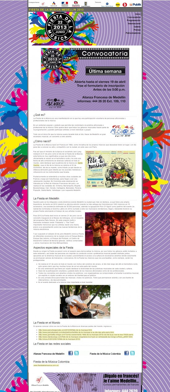 Pagina oficial: http://www.fiestadelamusicamedellin.com/