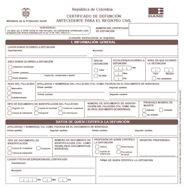 certificado de defunción en Colombia