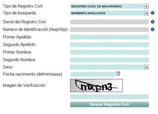 registro civil en linea 2013