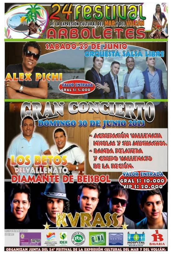 Afiche oficial Gran Concierto Festival de la Expresión Cultural del Mar y el Volcán 2013