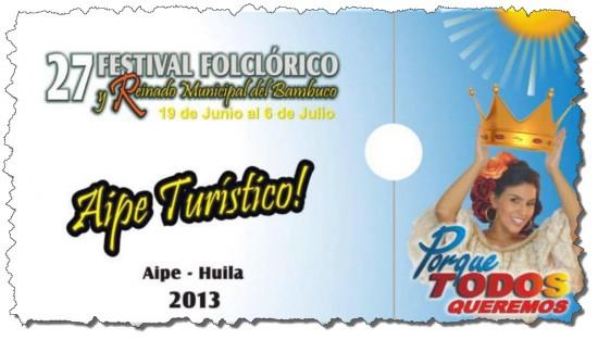 Festival folclórico y Reinado Municipal del Bambuco en Aipe 2013