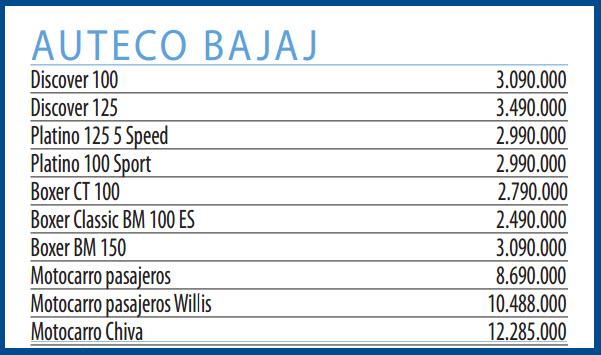 Motos nuevas Auteco Bajaj – precios revista motor junio 19 de 2013