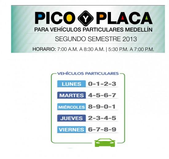 Pico y Placa Medellin 2013 vehículos particulares, segundo semestre