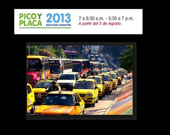 Pico y placa en Medellin 2013, segundo semestre
