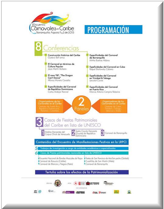 Programación oficial Encuentro de Carnavales del Caribe 201