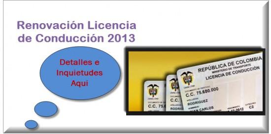 Renovación Licencia de Conducción 2013