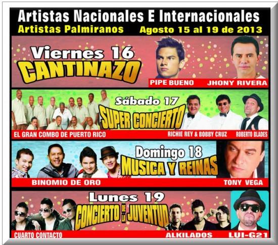 Artistas Nacionales e  Internacionales, Fiesta Nacional de la Agricultura 2013