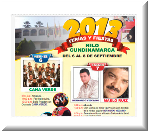 Ferias y Fiestas 2013  en el Nilo, Cundinamarca