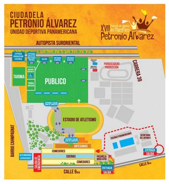Mapa Unidad Deportiva Panamericana Festival Petronio Álvarez 2013