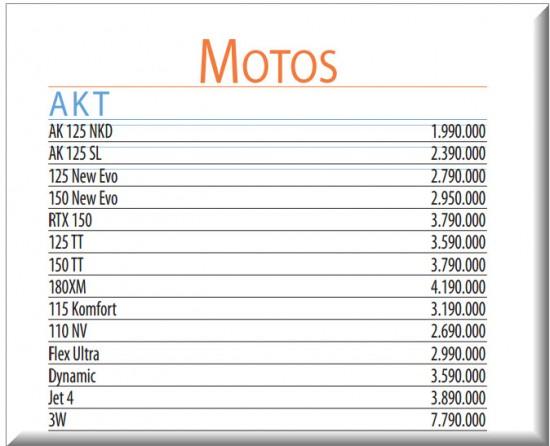 Precios Revista Motor, Motos Nuevas de Akt, Septiembre 4 de 2013