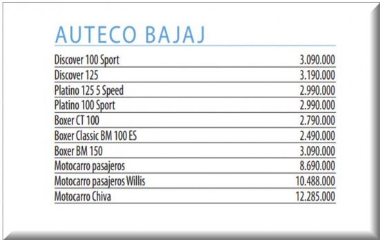 Precios Revista Motor, Motos Nuevas de Auteco Bajaj, Septiembre 4 de 2013