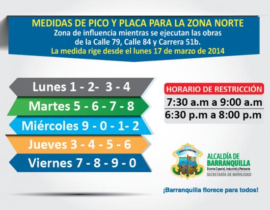 Pico y placa vehículos particulares y públicos en barranquilla los viernes desde enero hasta junio de 2014
